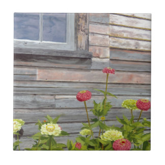 Weathered wood and Zinnias Tiles