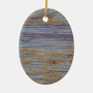 Weathered Wood Ceramic Oval Ornament