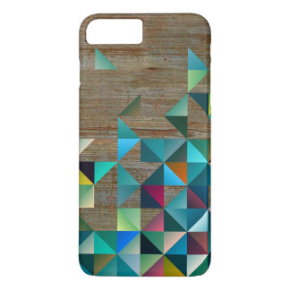 Weathered Wood & Colorful Modern Pattern iPhone 7 Plus Case