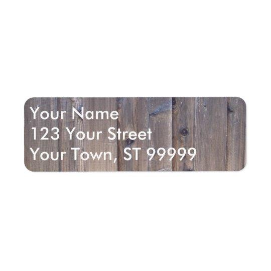 Weathered Wood Fence Return Address Label