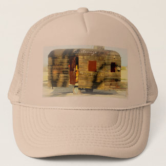 Weathered wood gypsy caravan trucker hat
