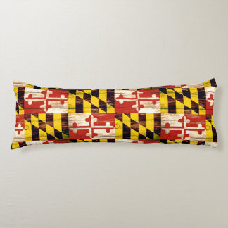 Weathered wood Maryland flag body pillow