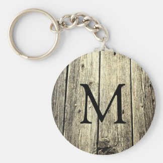 Weathered Wood Monogram Basic Round Button Keychain