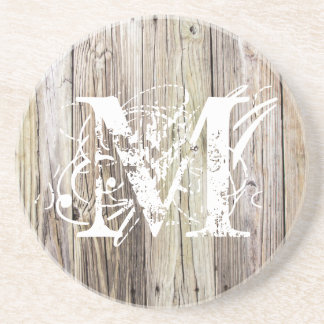 Weathered Wood Monogrammed Sandstone Coaster