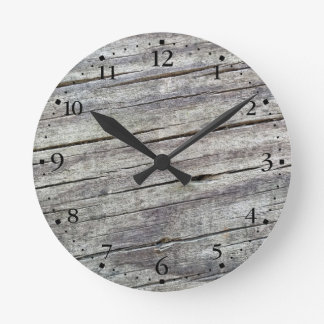 Weathered Wood Planks Texture Pattern Clockface 1 Round Clock