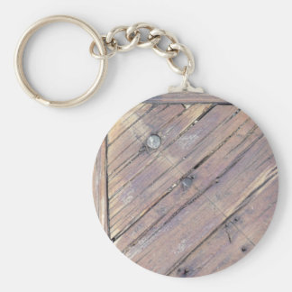 Weathered Wood Rough Textured Deck Keychain
