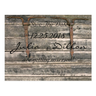 Weathered Wood Save The Date Postcard