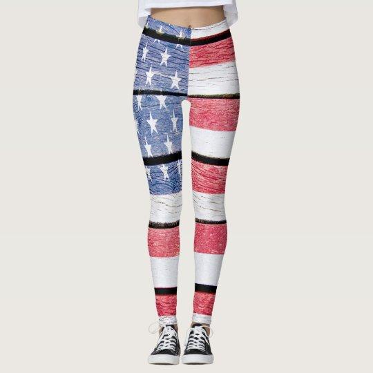 Weathered Wood USA Flag Pop Fashion Leggings