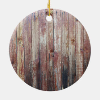 Weathered Wood Wall Texture Round Ceramic Ornament