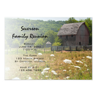 Weathered Wooden Barn Ranch Family Reunion Invite
