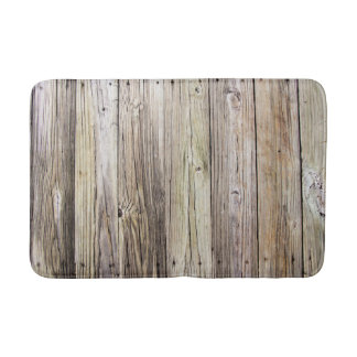 Weathered Wooden Boards with Rustic Patina Bathroom Mat