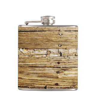 Weathered Wooden Deck Pocket Flask