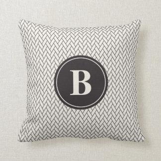 Weave Pattern Monogram Throw Pillow