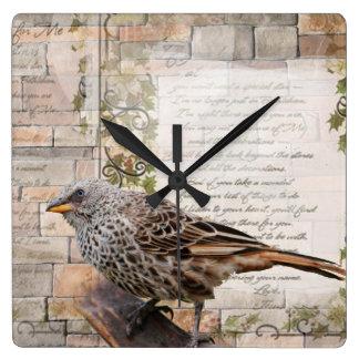 Weaver Bird Mixed Media Art Style Clock