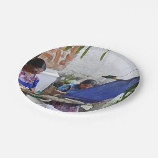 Weaving in Antigua drybrush 7 Inch Paper Plate