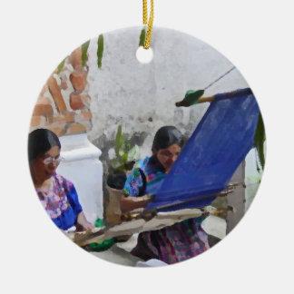 Weaving in Antigua drybrush Round Ceramic Ornament