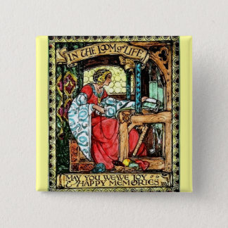 Weaving Woman 2 Inch Square Button