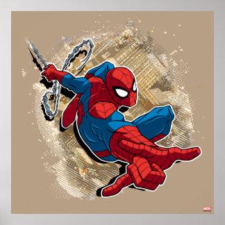 Web de Spider-Man lançant au-dessus de la ville Poster