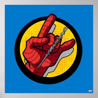 Web de Spider-Man lançant l'icône de main Poster