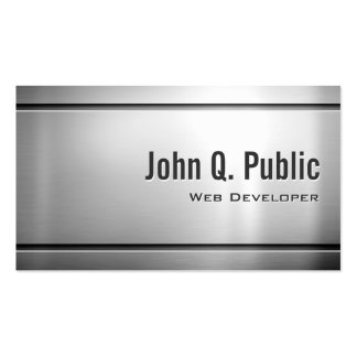 Web Developer - Cool Stainless Steel Metal Business Card Template