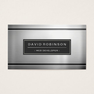 Web Developer - Premium Silver Metal Business Card