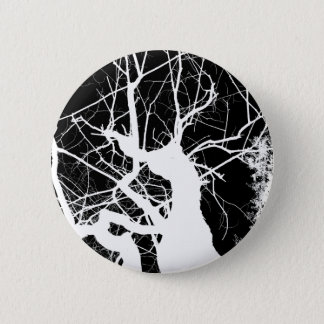 WEBBY TREE BLACK AND WHITE NEGATIVE 2 INCH ROUND BUTTON