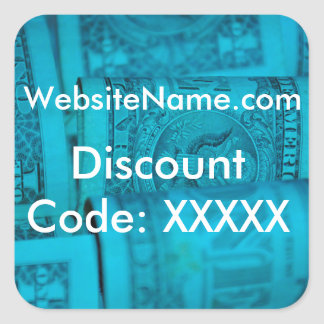 Website Promotion Design With Discount Code Option Square Sticker