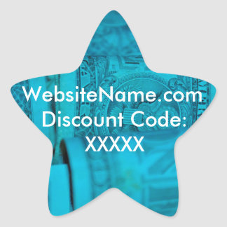 Website Promotion Design With Discount Code Option Star Sticker