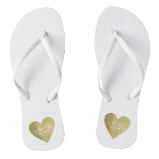 wed love celebration personalized gold heart flip flops