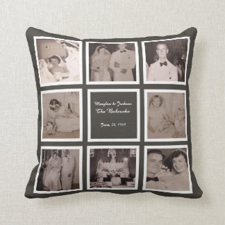 Wedding 10 Photo Instagram Collage slate grey Throw Pillow