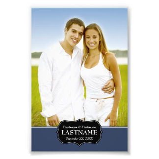 Wedding - 4 x 6 with Navy Blue Accent Photo Print