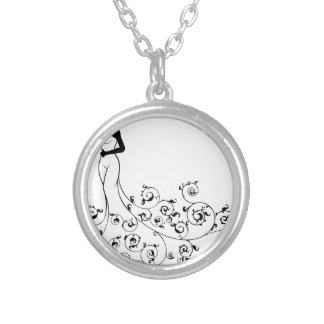 Wedding Abstract Bride Silhouette Silver Plated Necklace