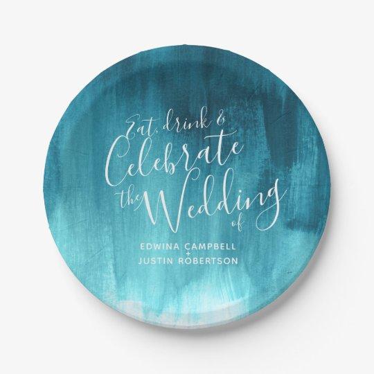 Wedding abstract teal aqua paper plate