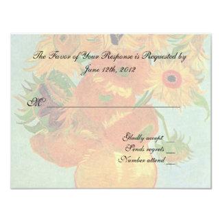 wedding acceptance card, van gogh sunflowers card