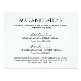 "Wedding Accommodation Card | Art Deco Style 4.25"" X 5.5"" Invitation Card"