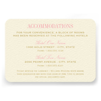 Wedding Accommodation Card Pink and Gold