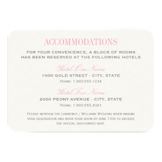 Wedding Accommodation Card | Pink and Gray Custom Invitation