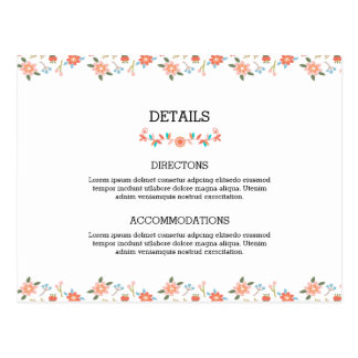 Wedding Accommodation Card Postcard