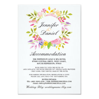 Wedding Accommodation Cards Floral Details Wreath