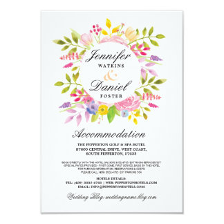 Wedding Accommodation Cards Inserts Pink Floral