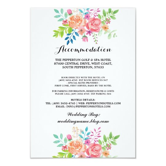 Wedding Accommodation Cards Watercolour Inserts