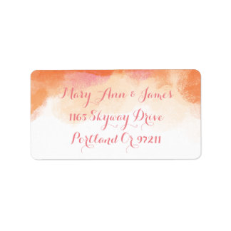 Wedding Address Blush Pink Coral Watercolor Label