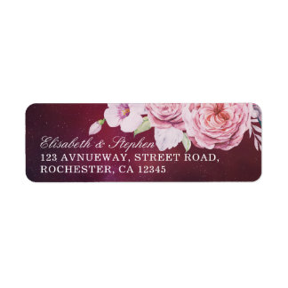 Wedding Address Boho Floral Feathers Burgundy Red