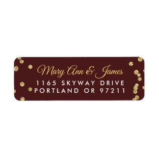 Wedding Address Gold Faux Glitter Confetti Marsala