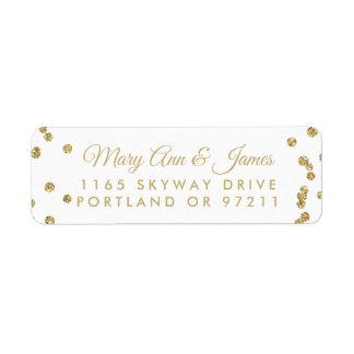 Wedding Address Gold Faux Glitter Confetti White