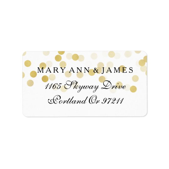 Wedding Address Gold Foil Glitter Lights Label