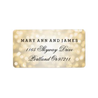 Wedding Address Gold Glitter Lights Label