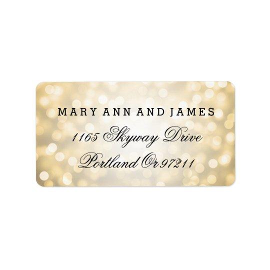 Wedding Address Gold Glitter Lights Label