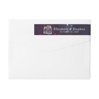 Wedding Address Label Chic Mason Jar Purple Lights