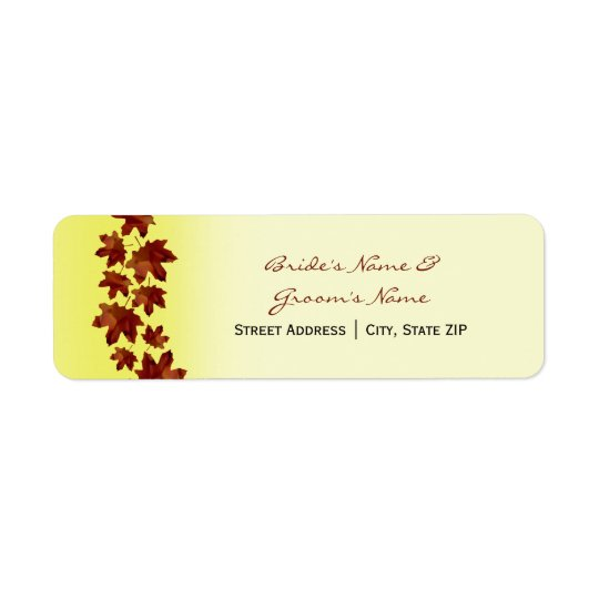 Wedding Address Label - Fall Wedding Leaves